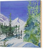 Watercolor - Sunny Winter Day In The Mountains Wood Print
