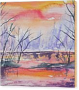 Watercolor - Sunrise At The Pond Wood Print