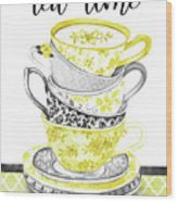 Watercolor Teacups-c Wood Print