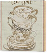 Watercolor Teacups-e Wood Print
