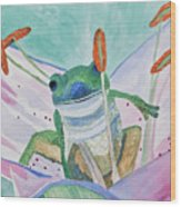 Watercolor - Tree Frog Wood Print