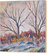 Watercolor - Trees And Woodland Meadow Wood Print