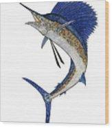 Watercolor Tribal Sailfish Wood Print