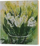 Watercolor Tulips Wood Print