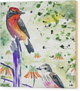 Watercolor - Vermilion Flycatcher Pair In Quito Wood Print