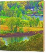 Watercolor View Wood Print