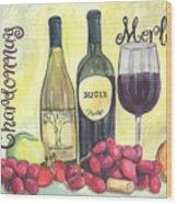 Watercolor Wine Wood Print