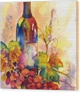 Watercolor Wine Wood Print by Peggy Wilson