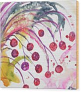 Watercolor - Winter Berry Abstract Wood Print