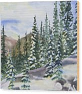 Watercolor - Winter Snow-covered Landscape Wood Print