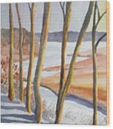 Watercolor - Winter Sunrise Wood Print