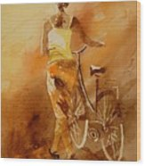 Watercolor With My Bike Wood Print by Pol Ledent
