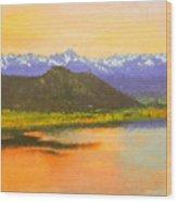 Watercolored Sunset Wood Print