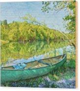 Watercolors At The Lake Wood Print