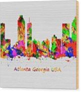 Watercolour Art Print Of The Skyline Of Atlanta Georgia Usa Wood Print