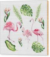 Watercolour Flamingo Family Wood Print