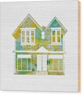 Watercolour House Wood Print