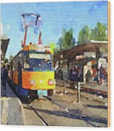Watercolour Painting Of A Tram In Germany Wood Print