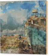 Watercolour Painting Of Abandoned Fishing Boat On Beach Landscap Wood Print