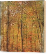 Watercolour Painting Of Vibrant Autumn Fall Forest Landscape Ima Wood Print