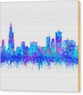 Watercolour Splashes And Dripping Effect Chicago Skyline Wood Print