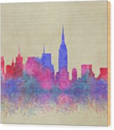 Watercolour Splashes New York City Skylines Wood Print