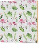 Watercolour Tropical Beauty Flamingo Family Wood Print