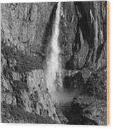 Waterfall 2 Bw Wood Print