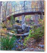 Waterfall And A Bridge In The Fall Wood Print