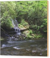Waterfall And Mountain Creek Wood Print