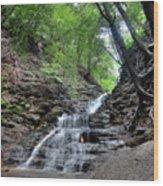 Waterfall And Natural Gas Wood Print