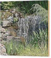 Waterfall And Pond Wood Print