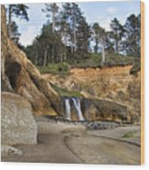 Waterfall At Hug Point State Park Oregon Wood Print