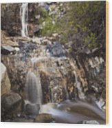 Waterfall At La Jolla Canyon Wood Print