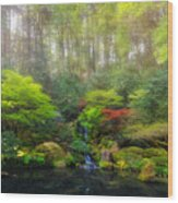 Waterfall At Lower Pond In Japanese Garden Wood Print