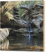 Waterfall At Old Man Cave Wood Print