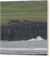 Waterfall At The Cliffs Of Moher Wood Print