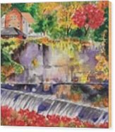 Waterfall at the Old Saugerties Mill Wood Print