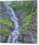 Waterfall Below The Garden Wall Wood Print