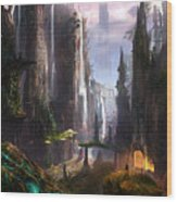Waterfall Celtic Ruins Wood Print by Alex Ruiz