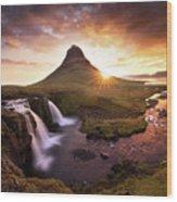 Waterfall Fantasy Wood Print