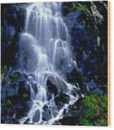 Waterfall Flowing And Ebbing Wood Print