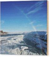 Waterfall Gullfoss In Winter Iceland Europe Wood Print