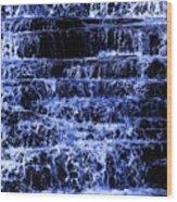 Waterfall In Blue Wood Print