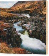 Waterfall In Glencoe Wood Print