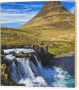 Waterfall in Iceland Kirkjufellfoss Wood Print