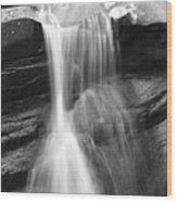 Waterfall In Nh Black And White Wood Print