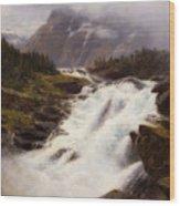Waterfall In Norweigian Mountain Landscape Wood Print