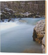 Waterfall In Slovenian Alps Wood Print