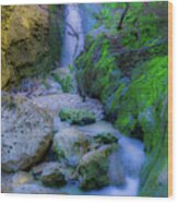 Waterfall In Soft Dream. Wood Print